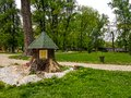 stock image of  Beautiful children`s wooden house in city park
