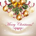 Beautiful christmas background with shining baubles and bells cute vintage card tree branches for design Stock Photos