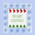 Beautiful Christmas card with Christmas tree, snowflakes and New Year socks. Vector.