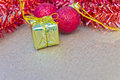Beautiful christmas decorations and happy new year have gift gold box accessories celebrations Stock Photography