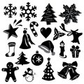 Beautiful Christmas Icons in Monochrome Design Isolated on White Background