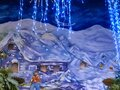 Christmas painting with blue icicle lights Royalty Free Stock Photo