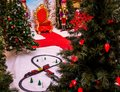 A Beautiful Christmas Setting Complete with Toy Train Royalty Free Stock Photo