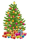 Beautiful christmas tree with a lot of gifts. Stock Photos