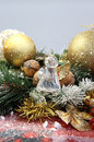 Beautiful Christmas wreath and crystal angel Royalty Free Stock Photo