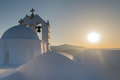 Beautiful church Saint Antony in Paros island in Greece against the sunset. Royalty Free Stock Photo