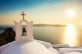 Beautiful church on the sea coast at sunset. Royalty Free Stock Photo