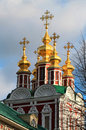 Beautiful church of the transfiguration detail novodevichy convent on sky background Stock Image