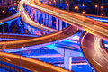 Beautiful city interchange overpass closeup of the at night Stock Photography