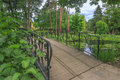 Beautiful city park and bridge in transylvania romania Royalty Free Stock Image