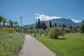 Beautiful city recreation park at riva del garda public area sul italy Royalty Free Stock Images