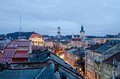 Beautiful cityscape of the center of lvov from height ukraine Royalty Free Stock Photos