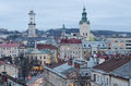 Beautiful cityscape of the center of lvov from height ukraine Stock Image