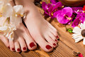 Beautiful classic red pedicure on female hand. Close-up. Royalty Free Stock Photo
