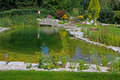 Beautiful classical garden pond. Royalty Free Stock Images