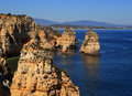 Beautiful cliff formations atlantic coast lagos western portugal algarve and secluded beaches viewed from ponta da piedade Royalty Free Stock Images