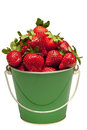Beautiful close up fresh ripe strawberries little pail isolated white background Royalty Free Stock Photos