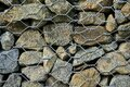 Close up high resolution view of gabion wall rocks and stones in metal wire box cage for slope and earth retention management Royalty Free Stock Photo