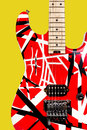 Beautiful closeup red and white electric guitar Royalty Free Stock Photo