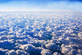 Beautiful clouds blue sky background. Aerial view