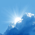 Beautiful clouds and sun blue sky with Stock Image