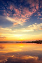 Title: Beautiful cloudscape over the lake background, sunset shot