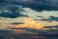 Beautiful cloudy sky with sun rays. Cloudy abstract background. Sunset light. Royalty Free Stock Photo