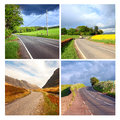 Beautiful collage of rural roads in Scotland. Royalty Free Stock Photo
