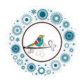 Beautiful collection snowflakes colorful bird snow wreath with at the center christmas winter theme Stock Photography