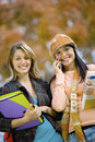 Beautiful college students on campus portrait of Royalty Free Stock Photos
