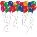 Beautiful color balloon in the air and confetti Royalty Free Stock Photo