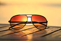 Beautiful colored shot of branded sunglasses Royalty Free Stock Photo