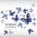 Beautiful colorful blue butterfly flying on a white. Abstract background