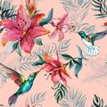 Beautiful colorful flying hummingbirds and red flowers on pink background. Exotic tropical seamless pattern. Watecolor painting.