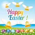 Beautiful and colorful Happy Easter greeting card with easter eggs and bells. Illustration VI. Royalty Free Stock Photo