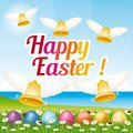 Beautiful and colorful Happy Easter greeting card with easter eggs and bells. Illustration I. Royalty Free Stock Photo