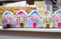 Beautiful colorful houses sewn from fabric Stock Photos