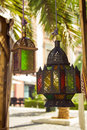 Beautiful colorful lamps festive from colored glass granada spain Stock Photography