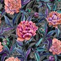 Beautiful colorful peony flowers with leaves, buds and gray outlines on black background. Seamless floral pattern.