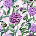 Beautiful colorful peony flowers with leaves, buds and pink outline on white background. Seamless floral pattern.