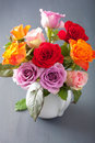 Beautiful colorful rose flowers bouquet in vase Royalty Free Stock Photo
