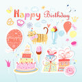 Beautiful colorful set different elements to birthday light background Royalty Free Stock Photography