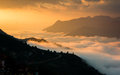 Beautiful colorful sky with cloud and mountains in sapa vietnam Stock Images