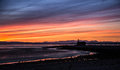 A beautiful colorful sunset view on the Morecambe beach Royalty Free Stock Photo