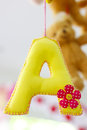 Beautiful colour capital letter A hanging- Stock image Royalty Free Stock Photo