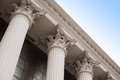Beautiful columns of the capital on the facade of the historic building Royalty Free Stock Photo