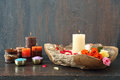 Beautiful composition with candles Royalty Free Stock Photo