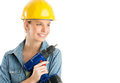 Beautiful construction worker with power drill looking away isolated over white background Royalty Free Stock Image