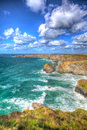 Beautiful Cornish coast Bedruthan Steps Cornwall England UK Cornish north coast near Newquay in stunning colourful HDR Royalty Free Stock Photo