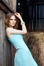 Beautiful country girl in blue dress Royalty Free Stock Photo
